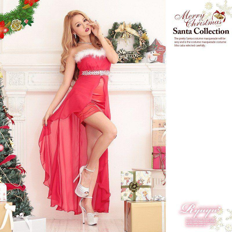 【即納】 Lサイズ追加!サンタコスプレ、クリスマス衣装に♪ 2way◎ ファー取外しok コスプレサンタドレス 3点set!前ミニロングサンタドレス