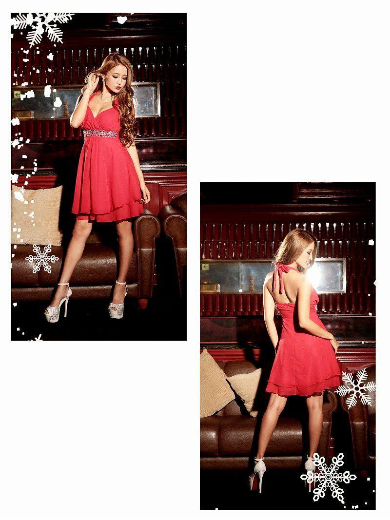 【即納】【サンタコスプレ】クリスマスドレス♪ 2way◎ ファー取外しok シフォンティアードミニドレス   2点set!キャバドレス