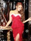【即納】大人の魅惑漂うサンタコスプレ。クリスマス赤ロングドレス 2ピース!!ペプラムサンタドレス