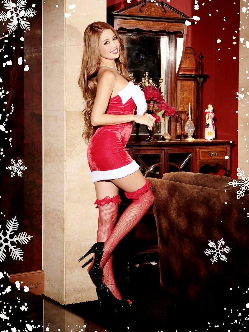 【即納】【サンタコスプレ】Bigリボンsexyタイトサンタコスプレ キャバクラコスプレ サンタドレス サンタコスチューム
