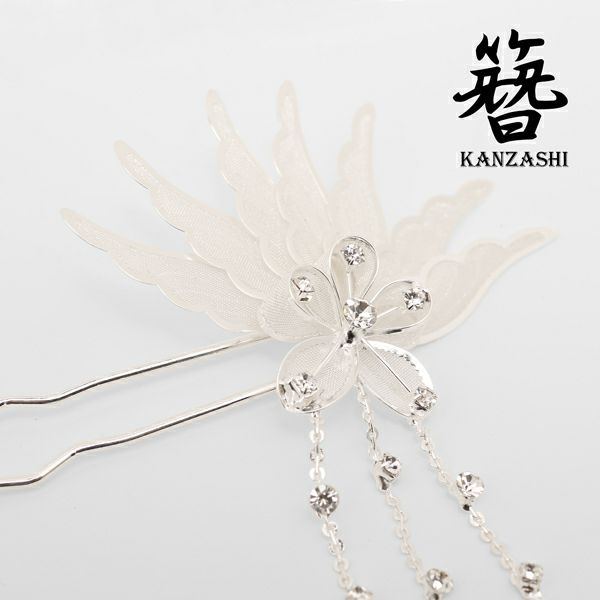 和柄に◎煌き孔雀羽ラインで美インパクトなヘアーアクセ/かんざし,簪