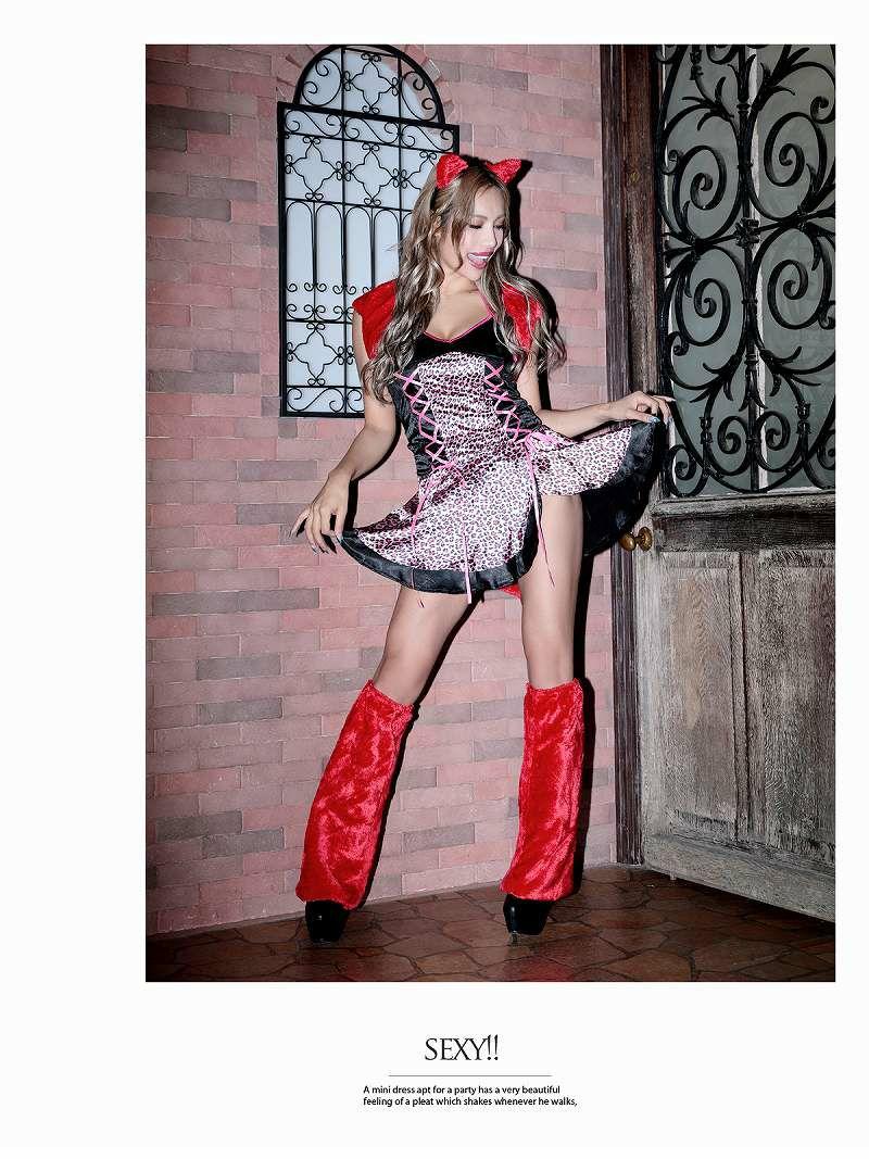 【即納】【キャバコスプレ6点セット】ピンク×レオパード女豹キャバコスプレ デビル風ふわもこファー小悪魔レディースコスプレ