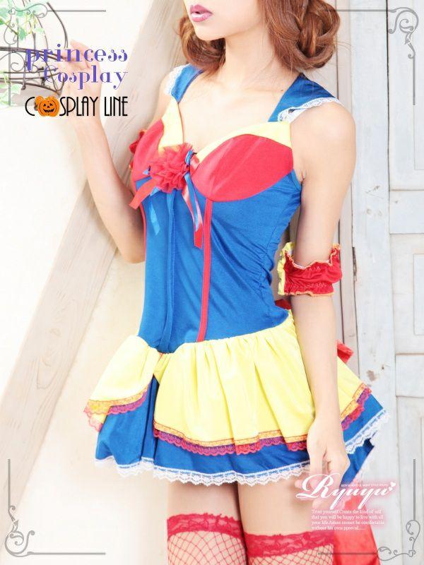 【即納】【キャバコスプレ!!】BIGなバックリボン*甘Cuteチュールレース白雪姫的コスプレワンピ/プリンセスコスプレ3点SET