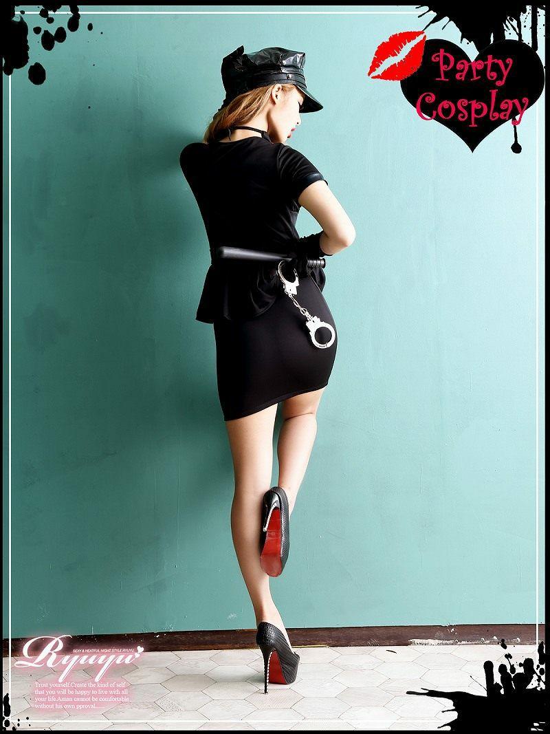【即納】【キャバコスプレ7点セット】アメリカンポリス袖付きコスプレセット ミニスカ婦警コスチューム イベントやハロウィンに♪
