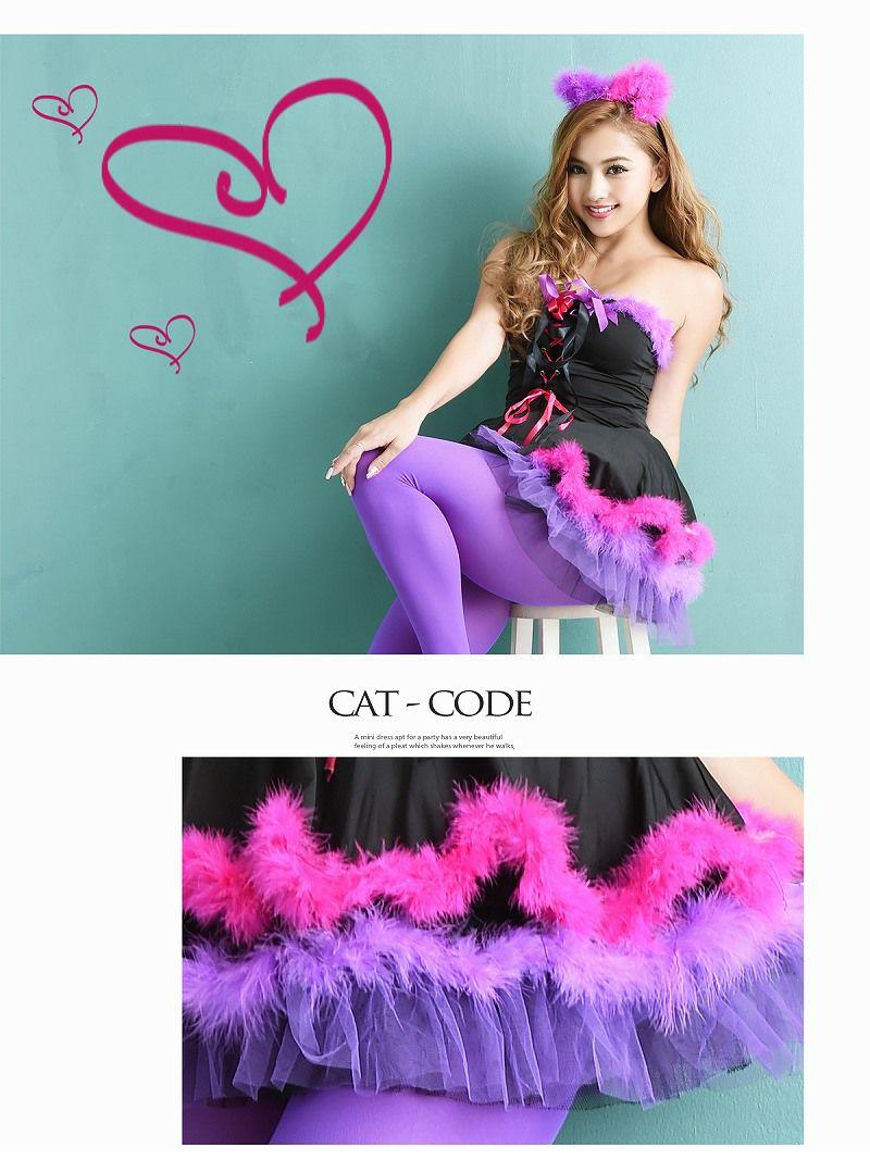 【即納】【キャバコスプレ3点セット】 猫キャラなりきりコスプレセット 猫耳チュールパニエコスチューム イベントやハロウィンに♪