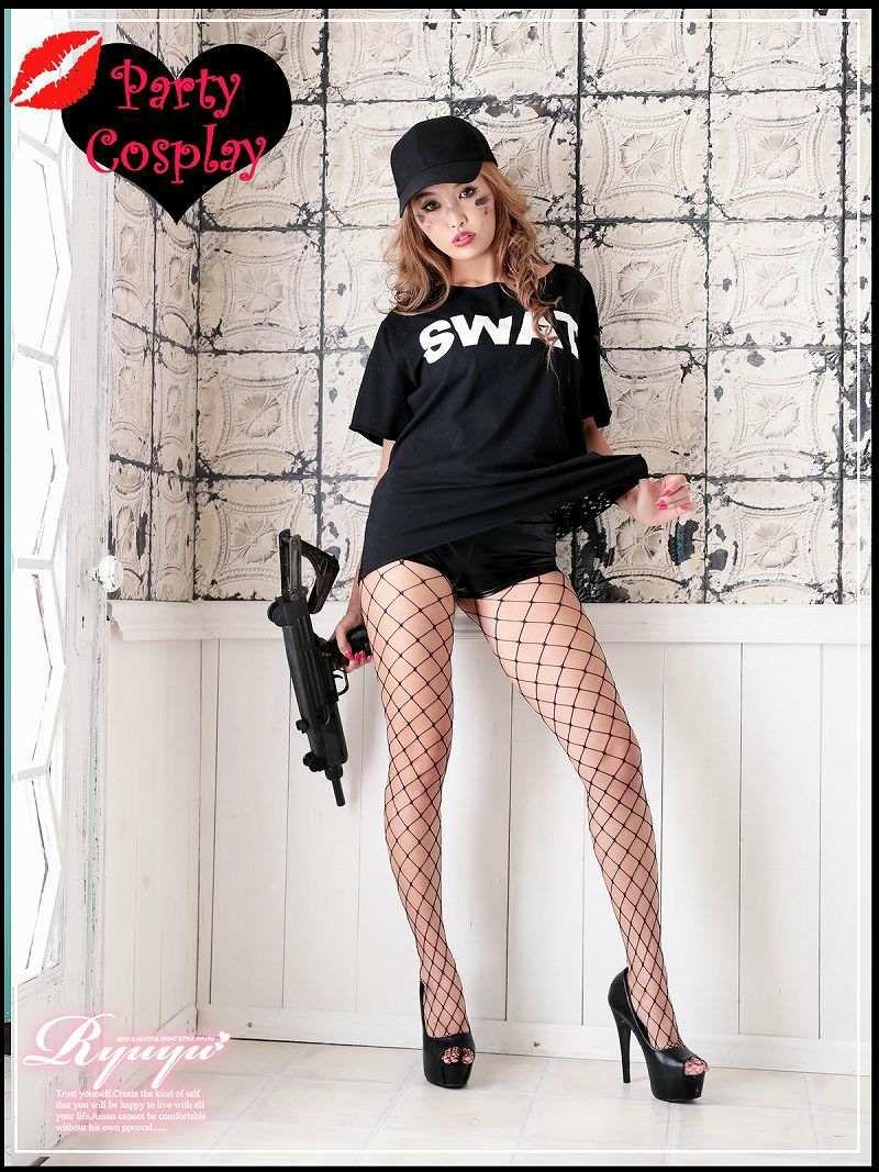 【即納】【キャバコスプレ3点セット】背中見せスワットコスプレセット 半袖SWAT仮装 イベントやハロウィンに♪