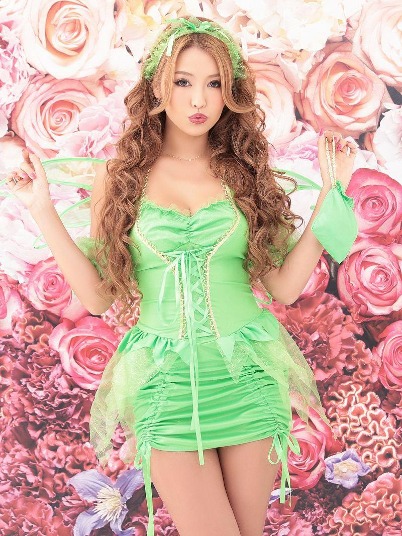 【即納】【キャバコスプレ5点セット】なりきりファンタジー妖精コスプレセット フェアリー仮装 クラブイベントやハロウィンに♪