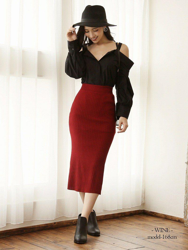 【Rvate】ミモレ丈リブニットタイトスカート シンプルストレッチニットタイトスカート