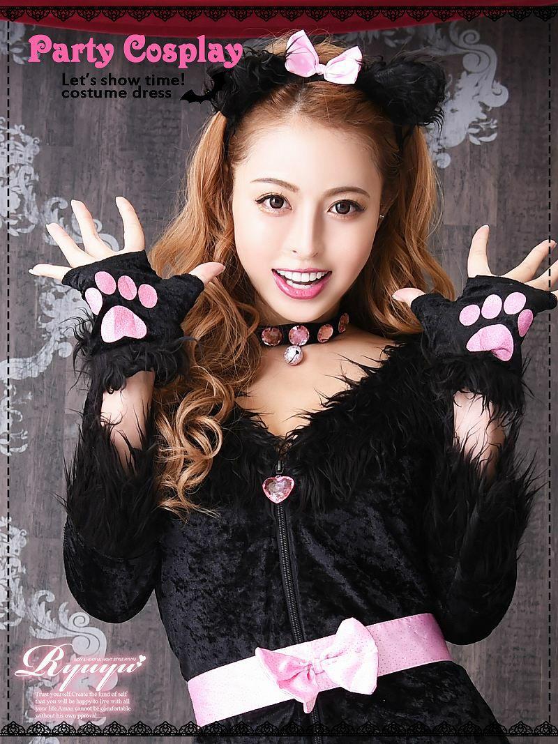 【即納】【キャバコスプレ6点セット】小悪魔cuteキャットコスプレセット 着ぐるみアニマルコスチューム クラブイベントやハロウィンに♪