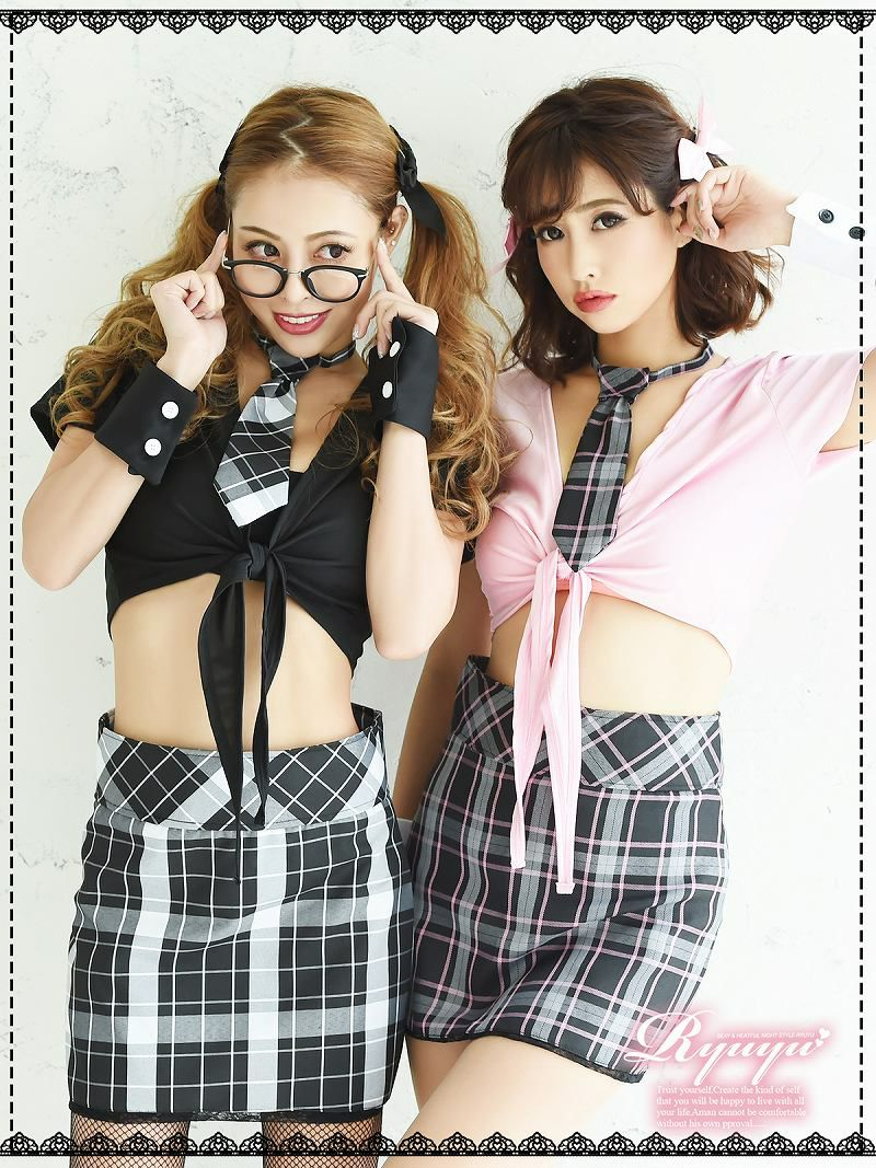 【即納】【キャバコスプレ5点セット】なんちゃって女子高生制服コスプレセット スクールガール仮装 イベントやハロウィンに♪