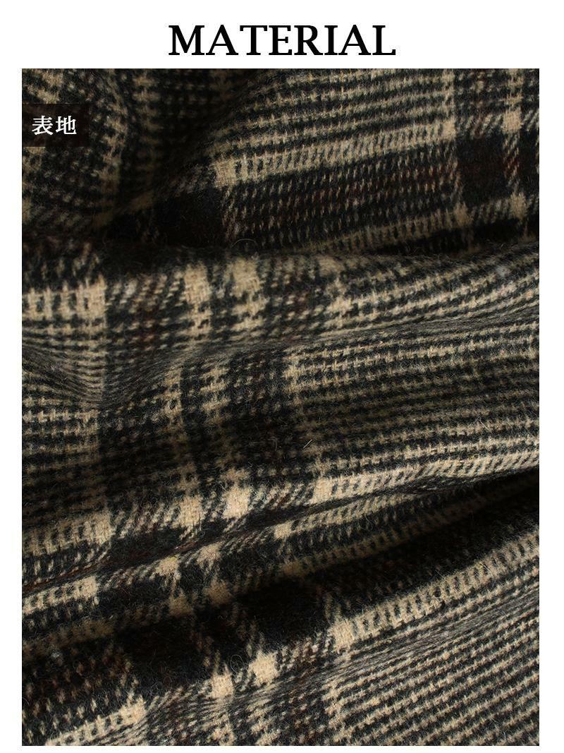 【Rvate】グレンチェック柄Vラインワイドオールインワン フェイクウール厚手サロペット
