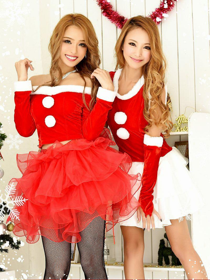 【即納】 【サンタコスプレ3点セット】ボリュームチュチュ袖付きオフショル2pサンタコスプレ キャバクライベントやクリスマスパーティーに◎