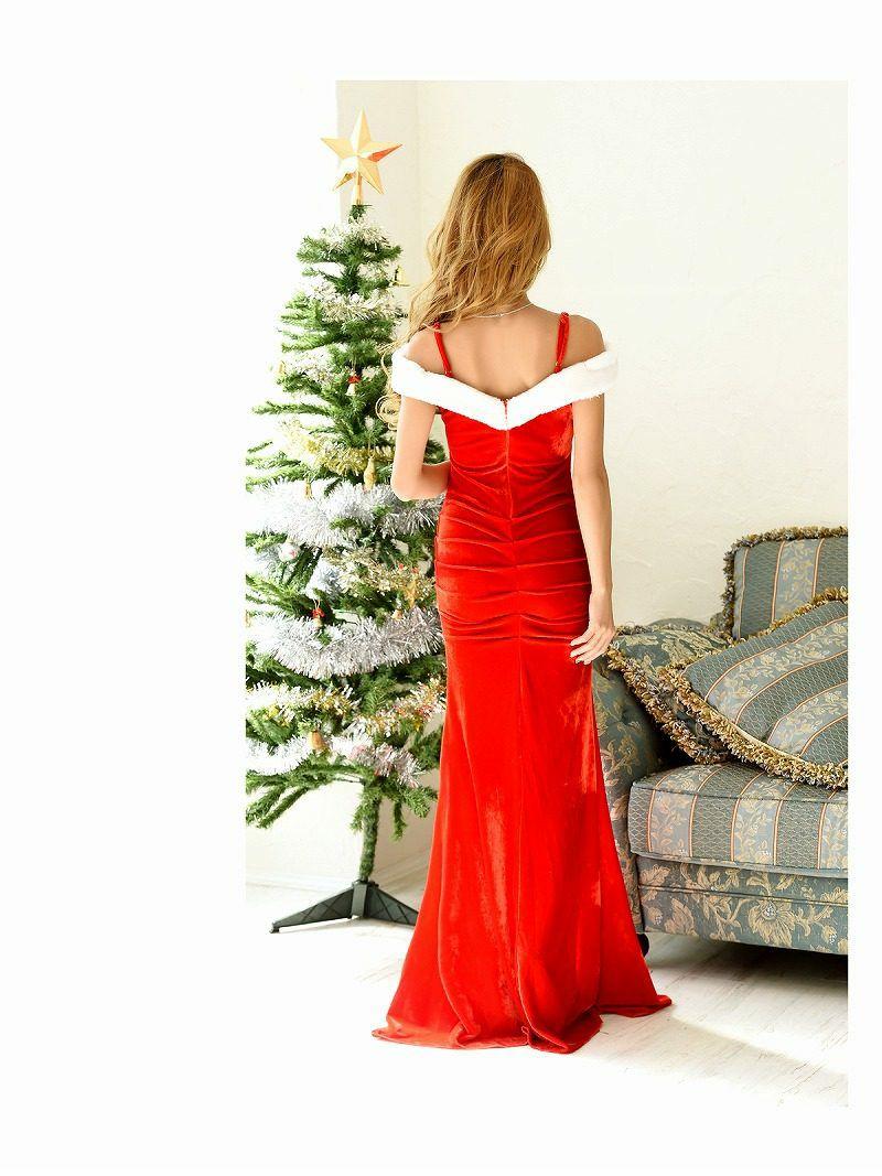 【即納】【サンタコスプレ】オープンショルダー深スリットロングドレスサンタコスプレ 武田静加 着用ドレス キャバクライベントやクリスマスパーティーに◎