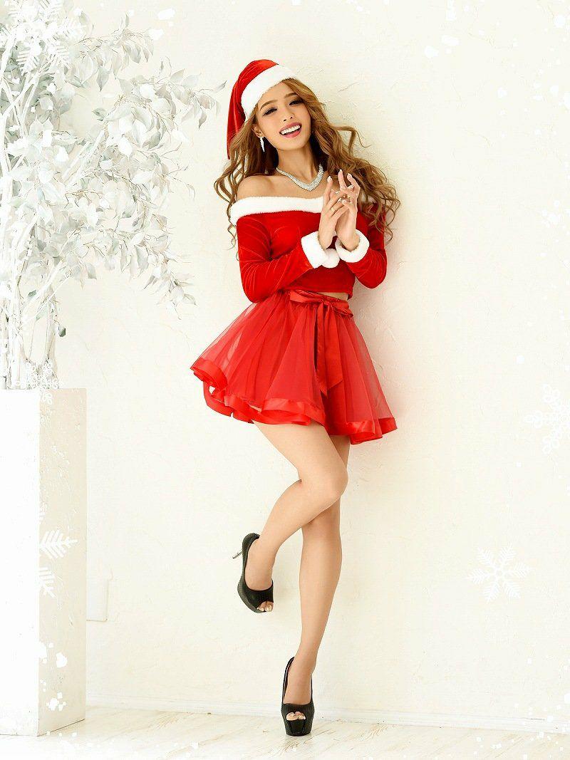 【即納】【キャバサンタ3点セット】オフショル長袖セットアップサンタコスプレ キャバクライベントやクリスマスパーティーに◎