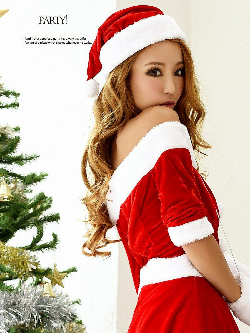 【即納】【サンタコスプレ3点セット】オフショル膝丈フレアワンピースサンタコスプレ 武田静加 着用サンタ キャバクライベントやクリスマスパーティーに◎