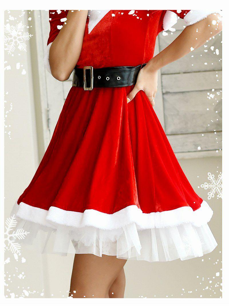 【即納】【サンタコスプレ2点セット】フード付き袖付きAラインワンピースサンタコスプレ【Ryuyu】【リューユ】キャバクライベントやクリスマスパーティーに◎