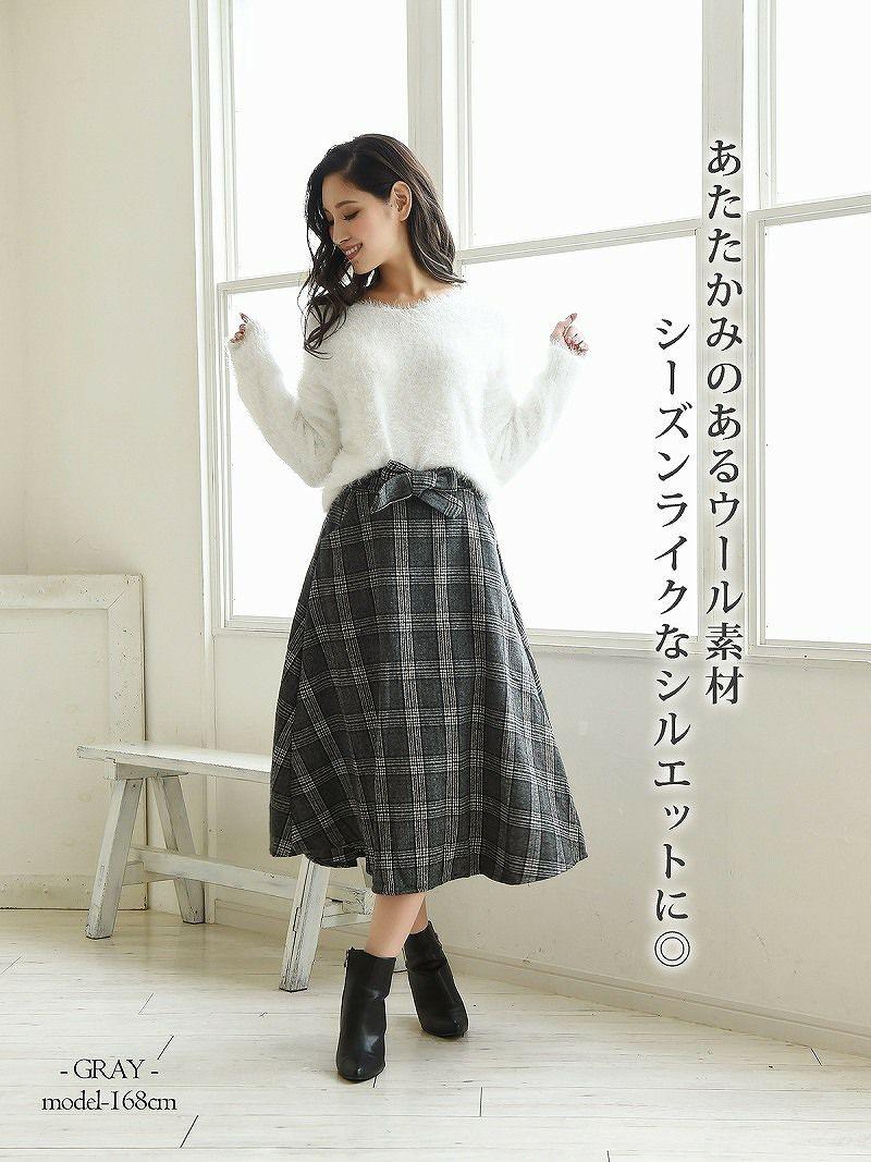 【Rvate】フロントリボングレンチェック柄ロングスカート ミモレ丈フレアースカート