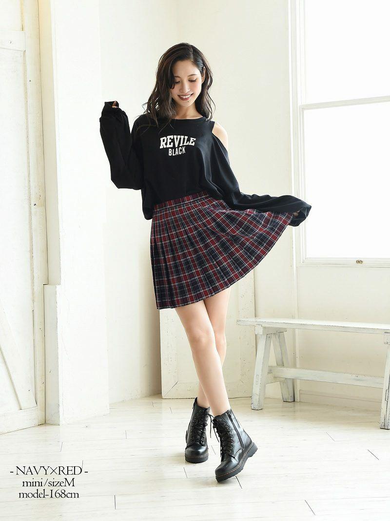 【Rvate】選べる丈感!チェック柄プリーツスカート 制服風ミニスカート
