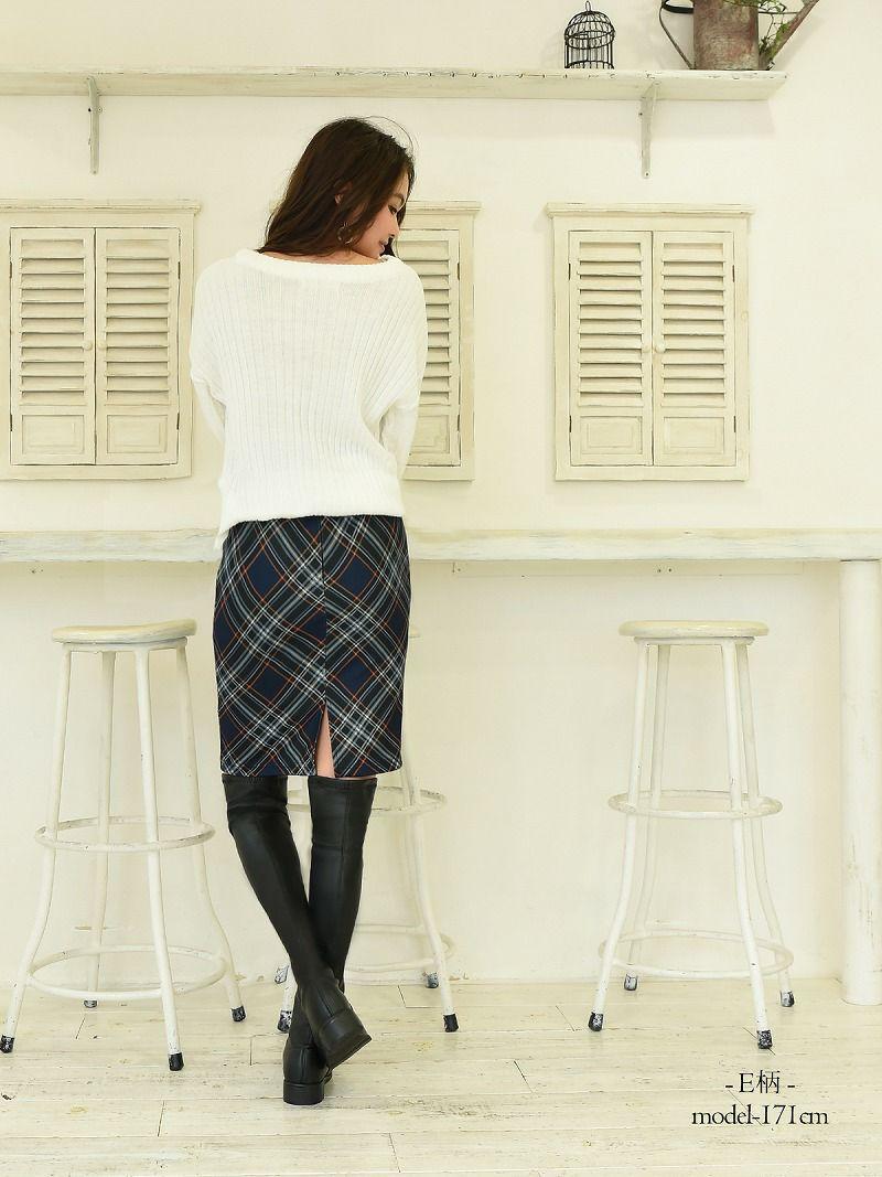 【Rvate】チェック柄タイトスカート 膝丈格子柄スカート