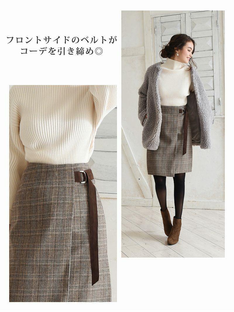 【Rvate】チェック柄ラップ風タイトスカート  グレンチェック膝丈ウール風スカート