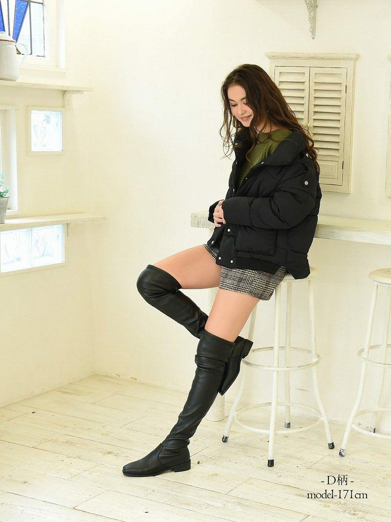 【Rvate】グレンチェック柄ウール風ショートパンツ 起毛素材ショート丈ボトムス