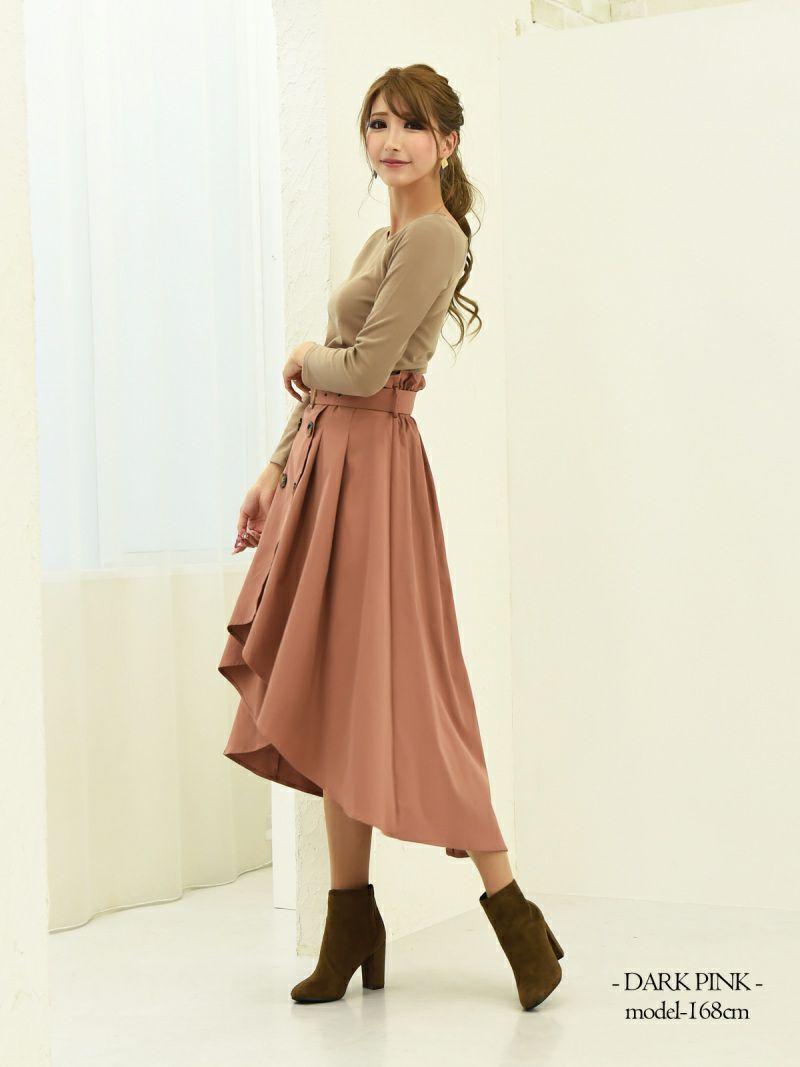 【Rvate】トレンチ風前ボタンフィッシュテールスカート ハイウエストミモレ丈Aラインスカート