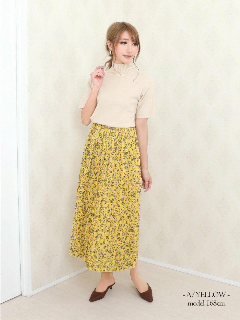 【Rvate】選べるデザイン!!小花柄プリーツロングフレアスカート ウエストゴムマキシ丈スカート