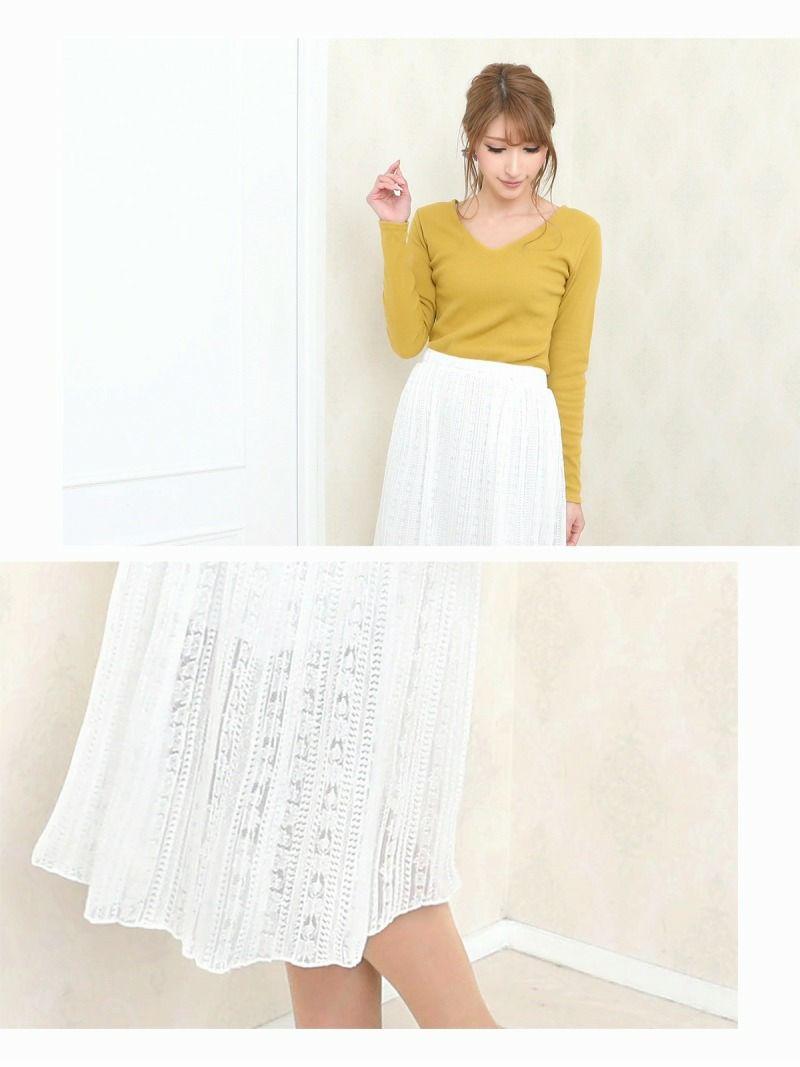【Rvate】ミディ丈フレアーレーススカート 大人かわいいミモレ丈スカート