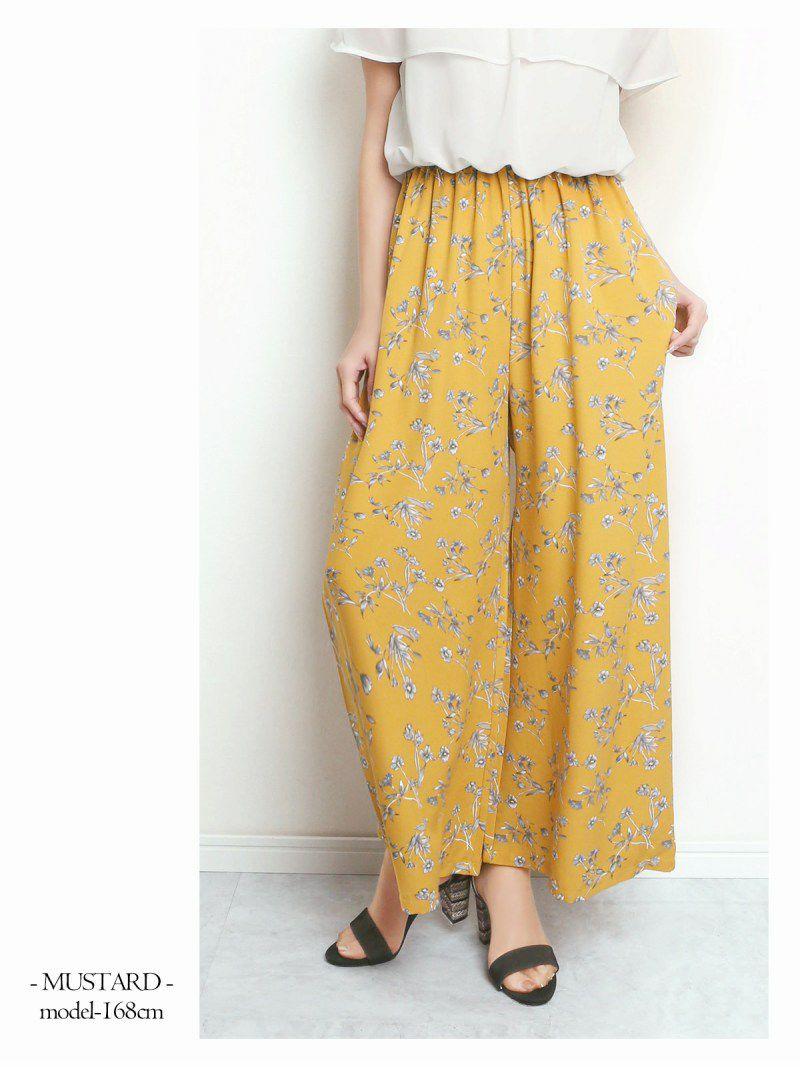 【Rvate】フリルオフショル花柄オールインワン バイカラーサロペット