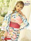 【即納】レトロ桜柄×水色大人かわいい派手浴衣 りせり 着用レディース浴衣3点セット