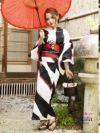 【即納】モノトーンストライプ波紋柄浴衣 RIRI 着用レディース浴衣3点セット(フリーサイズ)(ホワイト×ネイビー)