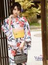 【即納】白×紺赤ハイビスカス柄二部式レディース浴衣4点セット