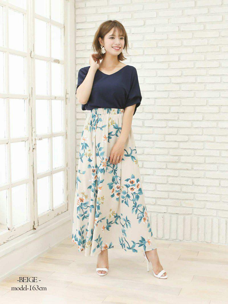 【Rvate】レトロ花柄ギャザーロングスカート ウエストゴムフレアマキシ丈スカート