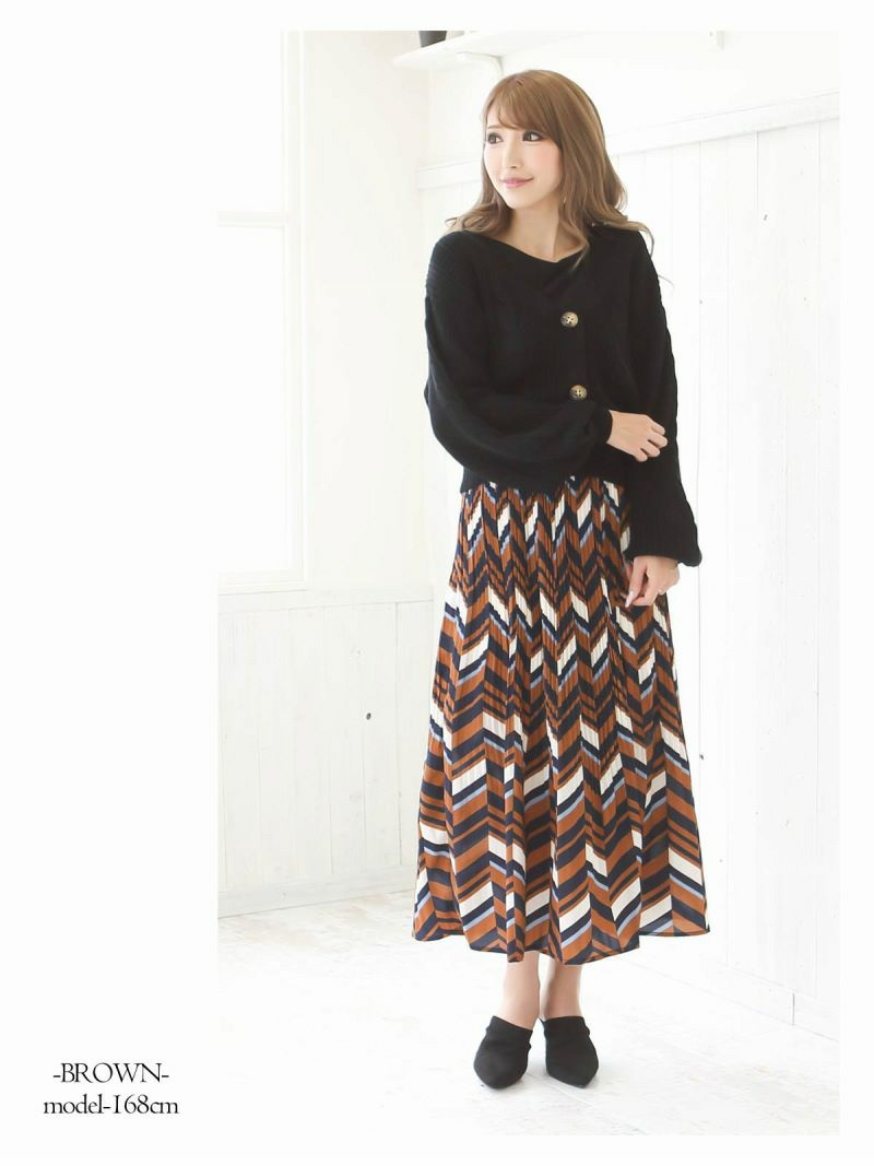 【Rvate】ヘリンボーン柄裾消しプリーツロングスカート ウエストゴムマキシ丈スカート