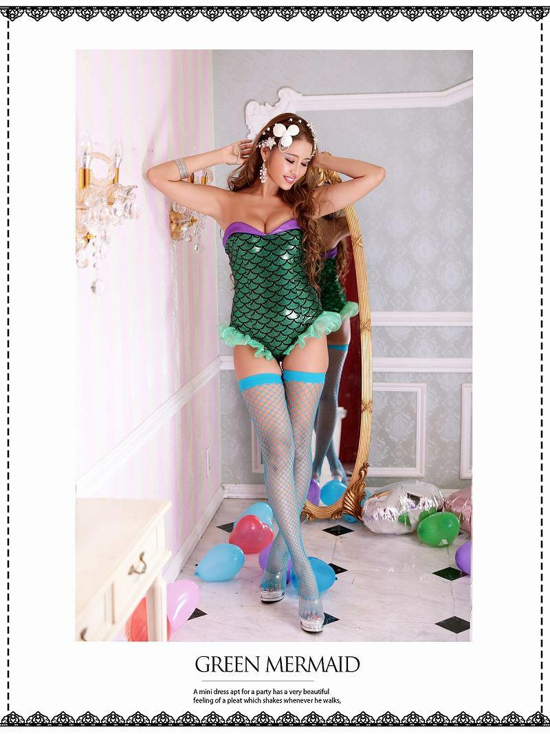 【即納】【キャバコスプレ1点セット】セクシーキラキラマーメードコスプレ 人魚姫ハロウィン仮装姉妹コーデでSNS映え◎