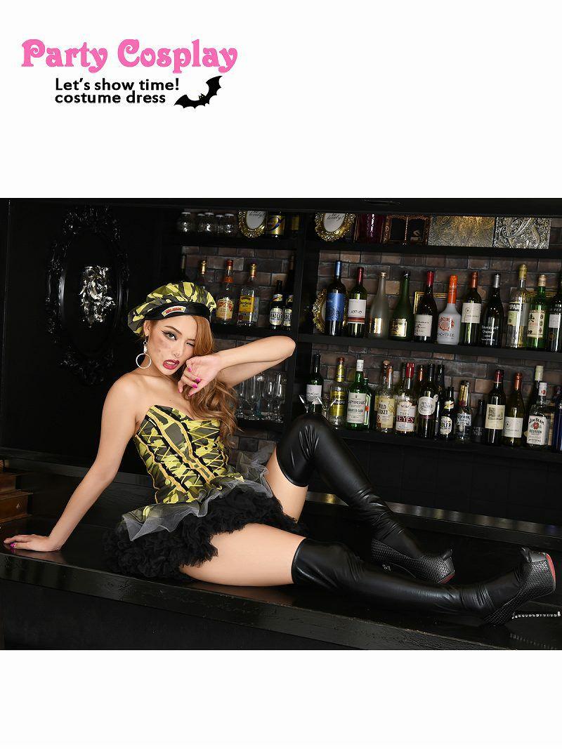 【即納】【キャバコスプレ2点セット】迷彩セクシーアーミーコスプレ ミニフレアスカートミリタリーハロウィン仮装イベントやパーティーに♪
