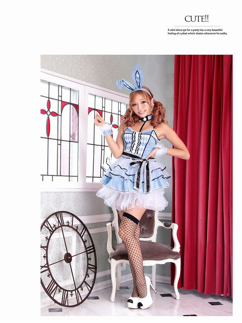 【即納】【キャバコスプレ7点セット】水色アリス風バニーコスプレ ロリータバニーガールコスチュームイベントやハロウィンに♪