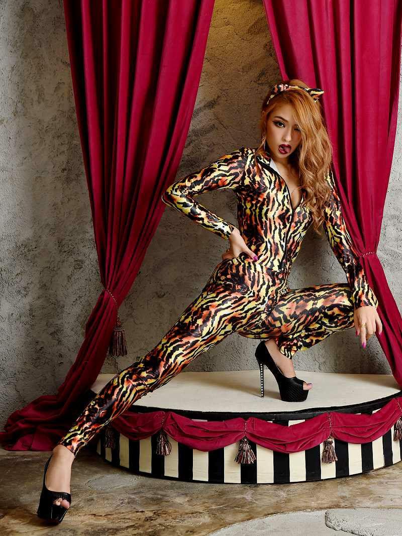 【即納】【キャバコスプレ2点セット】かっこいい大人ヒョウコスプレ ボディスーツ長袖女豹コスチュームハロウィンパーティーで双子コーデ◎♪