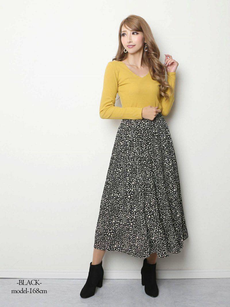 【Rvate】ダルメシアン柄細プリーツロングスカート ウエストゴムマキシ丈フレアスカート
