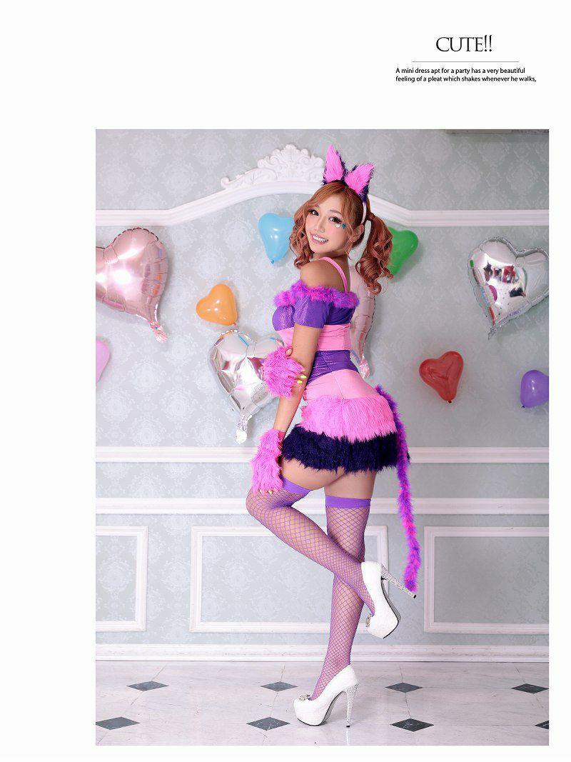 【即納】【キャバコスプレ2点セット】猫キャラふわふわコスプレ ピンク×紫猫ミニスカアニマルコスチュームハロウィンパーティーやイベントに♪