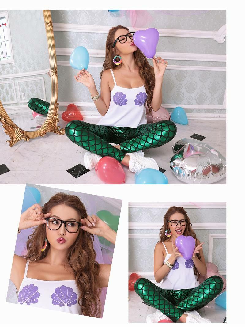 【即納】【キャバコスプレ3点セット】カジュアルうろこ柄マーメードコスプレ 緑パンツ人魚コスプレ衣装仮装パーティーやダンス衣装に♪