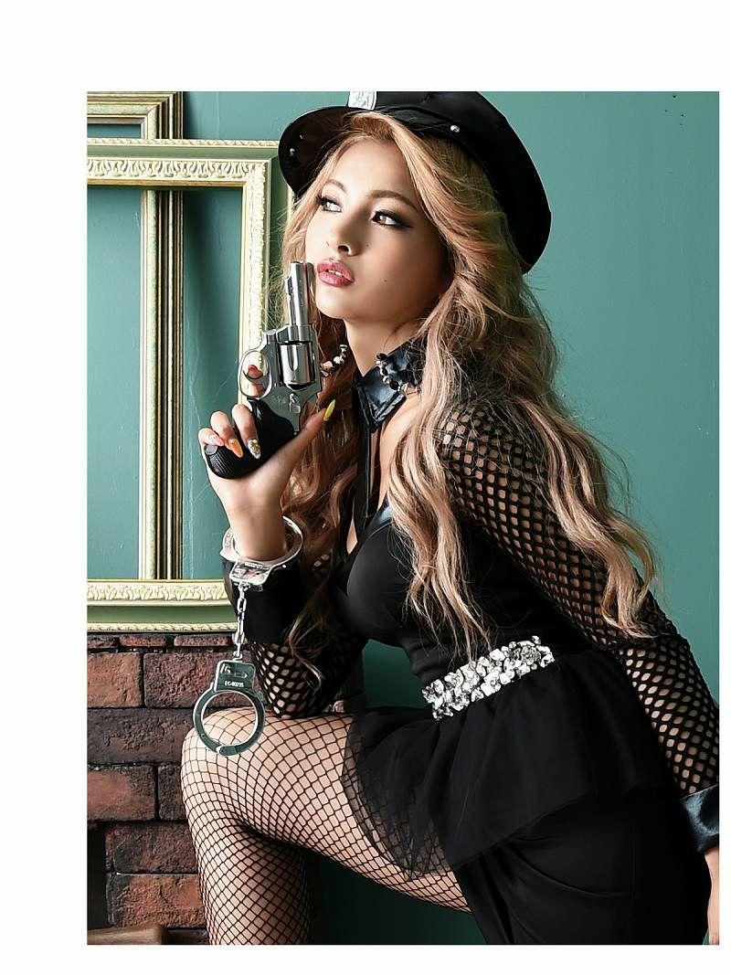 【即納】【キャバコスプレ4点セット】メッシュペプラムかっこいいポリスコスプレ【noalice By Ryuyu】【ノアリス】ネクタイ長袖婦人警官ハロウィン衣装クラブやパーティーに♪