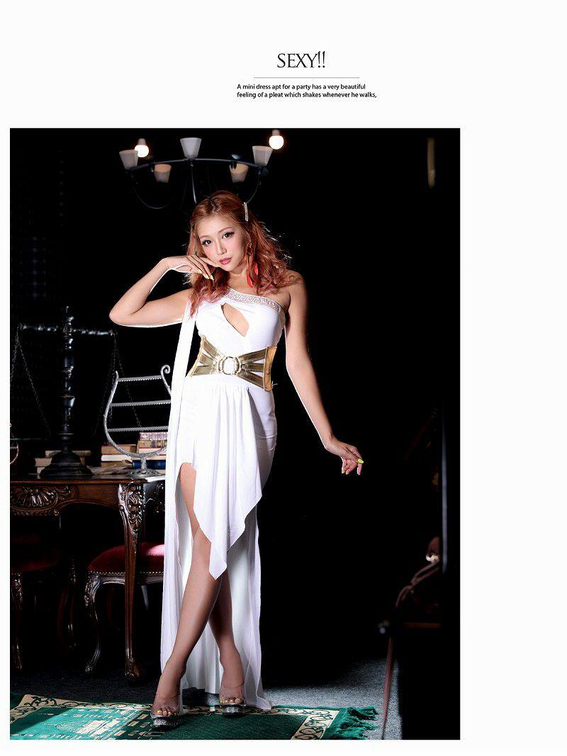 【即納】【キャバコスプレ2点セット】白×ゴールド深スリットエロいロングドレス女神コスプレ ワンショルダークレオパトラハロウィン仮装キャバクライベントでオトコ受け◎♪