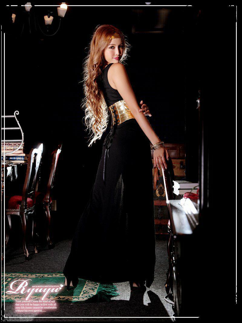 【即納】【キャバコスプレ3点セット】黒×ゴールドセクシーロングドレス女神コスプレ ワンショルバンダナ付きクレオパトラハロウィン仮装友達とリンクコーデ◎♪
