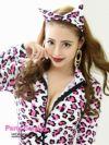 【即納】【キャバコスプレ2点セット】白×ピンクレオパードアニマル系sexyコスプレボディスーツ長袖女豹コスチュームハロウィンパーティーで双子コーデ◎♪