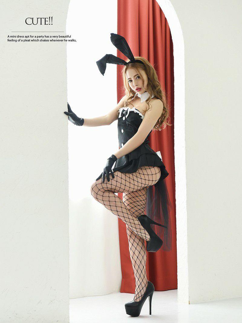 【即納】【キャバコスプレ5点セット】バックリボンタキシードスタイル風バニーコスプレ 黒セクシーうさぎコスハロウィン仮装キャバクライベントやクラブに♪