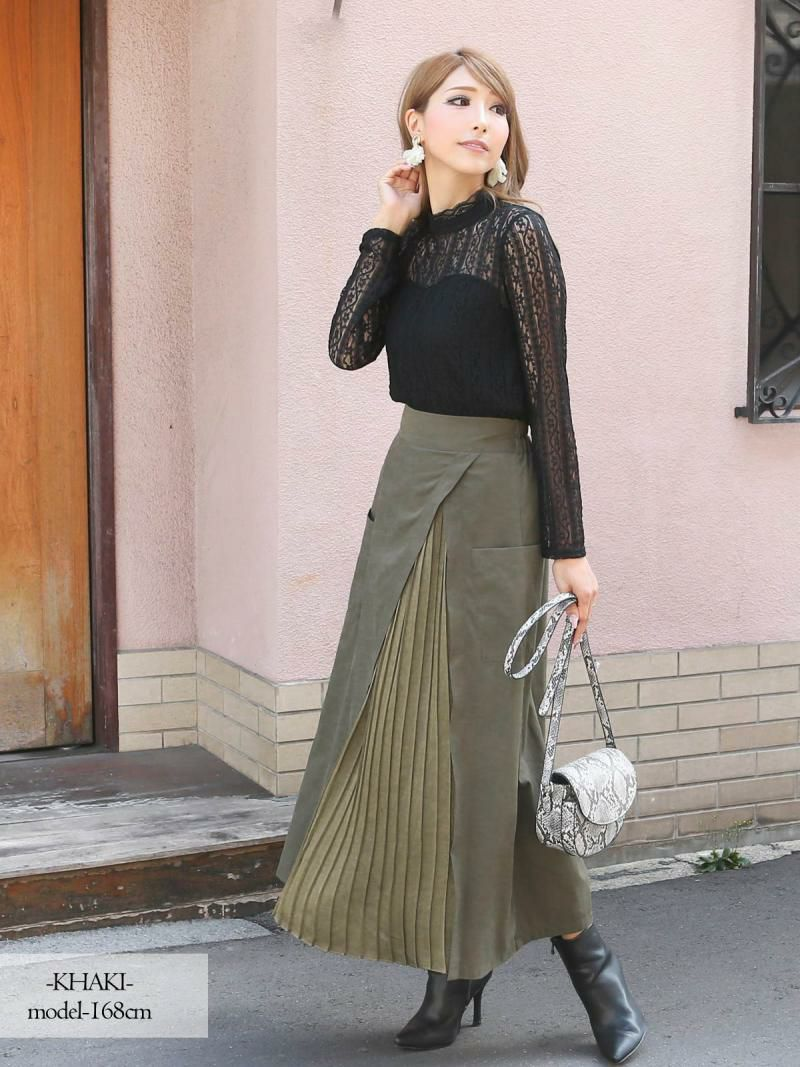 【Rvate】巻きスカート風プリーツロングスカート ウエストバックゴムミモレ丈スカート
