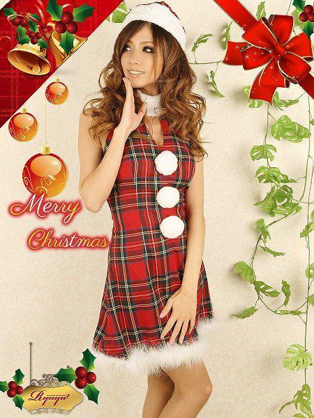 【即納】【サンタコスプレ3点セット】3点set ふわもこチェック柄サンタワンピ キャバクライベントやクリスマスパーティーに◎