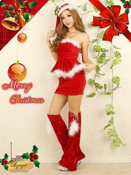 【即納】【サンタコスプレ3点set!】オリジナル!大人sexyなふわファーがelegantなペプラムサンタコスプレ キャバクライベントやクリスマスパーティーに◎