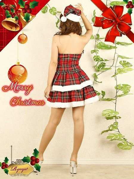 【即納】 【サンタコスプレ2点セット】2点set!ティアードフリルと胸元ポンポンでチェック柄ラブリー愛されサンタワンピ キャバクライベントやクリスマスパーティーに◎